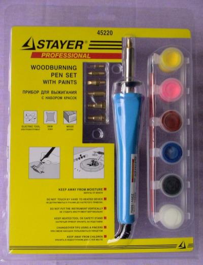 """Прибор для выжигания по дереву, коже  """"Stayer """" с красками (7 насадок..."""